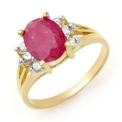 2.48 CTW Ruby & Diamond Ring 14K Yellow Gold - REF-45K5W - 13720