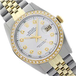 Rolex Men's Two Tone 14K Gold/SS, QuickSet, Diamond Dial & Diamond Bezel - REF-557K7T