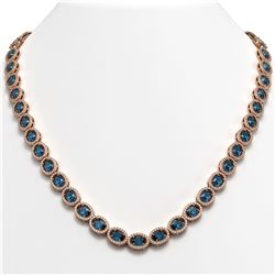 33.25 CTW London Topaz & Diamond Necklace Rose Gold 10K Rose Gold - REF-511W3H - 40437