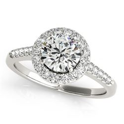 0.76 CTW Certified VS/SI Diamond Solitaire Halo Ring 18K White Gold - REF-133M3F - 26335