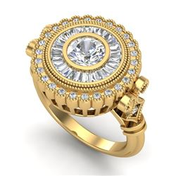 2.03 CTW VS/SI Diamond Solitaire Art Deco Ring 18K Yellow Gold - REF-327V3Y - 37081