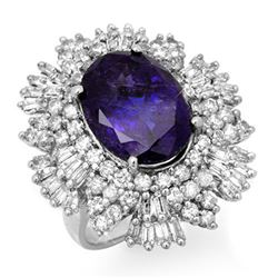 13.25 CTW Tanzanite & Diamond Ring 18K White Gold - REF-598R9K - 13426