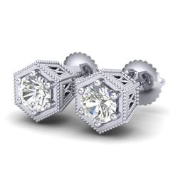 1.15 CTW VS/SI Diamond Solitaire Art Deco Stud Earrings 18K White Gold - REF-174R5K - 37217