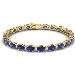 26.3 CTW Tanzanite & VS/SI Certified Diamond Eternity Bracelet 10K Yellow Gold - REF-345K5W - 29465