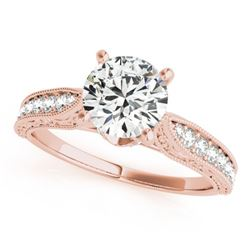 0.98 CTW Certified VS/SI Diamond Solitaire Antique Ring 18K Rose Gold - REF-205W8H - 27355