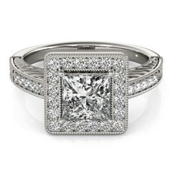 1.60 CTW Certified VS/SI Princess Diamond Solitaire Halo Ring 18K White Gold - REF-570F9N - 27120