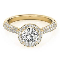 1.40 CTW Certified VS/SI Diamond Solitaire Halo Ring 18K Yellow Gold - REF-380V2Y - 26187