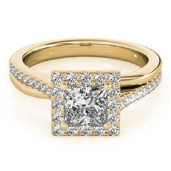 1.50 CTW Certified VS/SI Princess Diamond Solitaire Halo Ring 18K Yellow Gold - REF-399F3N - 27203