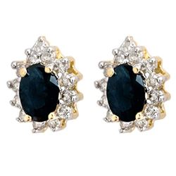 5.46 CTW Blue Sapphire & Diamond Earrings 14K Yellow Gold - REF-85M3F - 12873