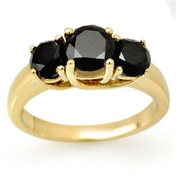 2.50 CTW VS Certified Black & White Diamond 3 Stone Ring 14K Yellow Gold - REF-78N2A - 13497
