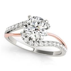 1.10 CTW Certified VS/SI Diamond Bypass Solitaire Ring 18K White & Rose Gold - REF-201A3V - 27716