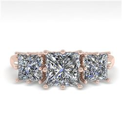 2.0 CTW Past Present Future VS/SI Princess Diamond Ring 18K Rose Gold - REF-414M2F - 35915