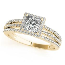 0.95 CTW Certified VS/SI Princess Diamond Solitaire Halo Ring 18K Yellow Gold - REF-138M5F - 27179