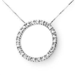 0.33 CTW Certified VS/SI Diamond Necklace 14K White Gold - REF-39W5H - 13810