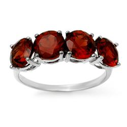 3.66 CTW Garnet Ring 18K White Gold - REF-37W3H - 12809