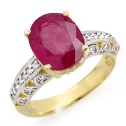 4.83 CTW Ruby & Diamond Ring 10K Yellow Gold - REF-50M5F - 14418