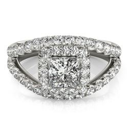 1.85 CTW Certified VS/SI Princess Diamond Solitaire Halo Ring 18K White Gold - REF-261F3N - 27195