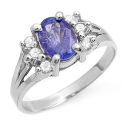 1.43 CTW Tanzanite & Diamond Ring 18K White Gold - REF-49F5N - 14408