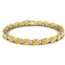 25.8 CTW Citrine & VS/SI Certified Diamond Eternity Bracelet 10K Yellow Gold - REF-118H4M - 29449