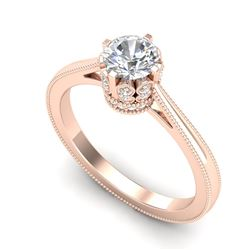 0.81 CTW VS/SI Diamond Solitaire Art Deco Ring 18K Rose Gold - REF-135H8M - 36825