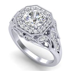 1.75 CTW VS/SI Diamond Solitaire Art Deco Ring 18K White Gold - REF-436V4Y - 37319