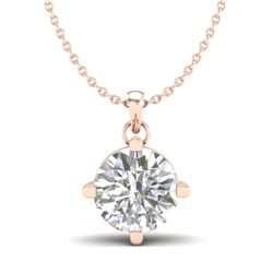 1 CTW VS/SI Diamond Solitaire Art Deco Stud Necklace 18K Rose Gold - REF-285M2F - 37233
