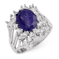 4.44 CTW Tanzanite & Diamond Ring 14K White Gold - REF-183R8K - 14093