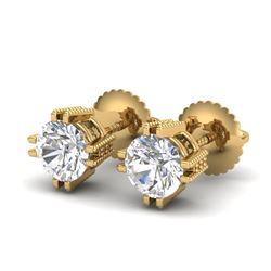 1.07 CTW VS/SI Diamond Solitaire Art Deco Stud Earrings 18K Yellow Gold - REF-200A2V - 36913