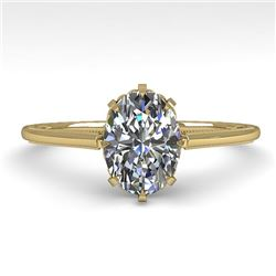 1.0 CTW VS/SI Oval Diamond Solitaire Engagement Ring 18K Yellow Gold - REF-283R5K - 35749