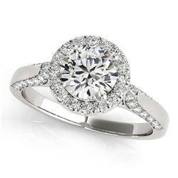 1.50 CTW Certified VS/SI Diamond Solitaire Halo Ring 18K White Gold - REF-387K5W - 26383