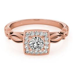 0.55 CTW Certified VS/SI Diamond Solitaire Halo Ring 18K Rose Gold - REF-88H2M - 26255