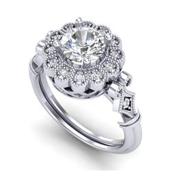 1.20 CTW VS/SI Diamond Solitaire Art Deco Ring 18K White Gold - REF-345N2A - 37049