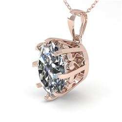 1 CTW VS/SI Oval Diamond Solitaire Necklace 18K Rose Gold - REF-280R2K - 35714