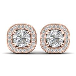 1.35 CTW Certified VS/SI Diamond Stud Micro Halo Earrings 14K Rose Gold - REF-177A3V - 30433