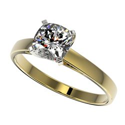 1 CTW Certified VS/SI Quality Cushion Cut Diamond Solitaire Ring 10K Yellow Gold - REF-297Y2X - 3299