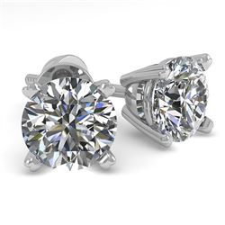 1.0 CTW VS/SI Diamond Stud Designer Earrings 18K White Gold - REF-155K3W - 32262