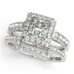 2.02 CTW Certified VS/SI Princess Diamond 2Pc Set Solitaire Halo 14K White Gold - REF-463K3W - 31394