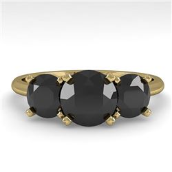 2 CTW Black Diamond Past Present Future Designer Ring 18K Yellow Gold - REF-91X8R - 32467