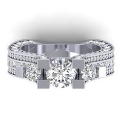 5.5 CTW Certified VS/SI Diamond Art Deco 3 Stone Micro Ring 14K White Gold - REF-638N9A - 30294