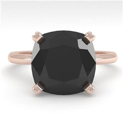 6.0 CTW Cushion Black Diamond Engagement Designer Ring Size 7 18K Rose Gold - REF-162K2W - 32459