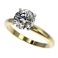 2 CTW Certified H-SI/I Quality Diamond Solitaire Engagement Ring 10K Yellow Gold - REF-615R2K - 3293