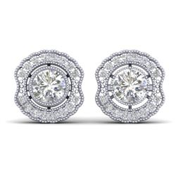 1.50 CTW Certified VS/SI Diamond Art Deco Stud Earrings 14K White Gold - REF-196Y2X - 30540