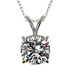 1.25 CTW Certified VS/SI Quality Cushion Cut Diamond Necklace 10K White Gold - REF-423M3F - 33217