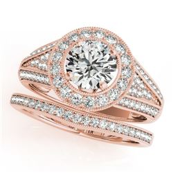1.60 CTW Certified VS/SI Diamond 2Pc Wedding Set Solitaire Halo 14K Rose Gold - REF-245F5N - 31113