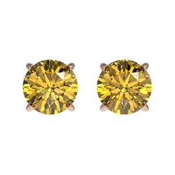 1 CTW Certified Intense Yellow SI Diamond Solitaire Stud Earrings 10K Rose Gold - REF-116M3F - 33058