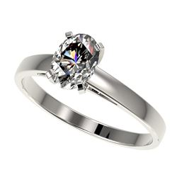 1 CTW Certified VS/SI Quality Oval Diamond Solitaire Ring 10K White Gold - REF-297M2F - 32991