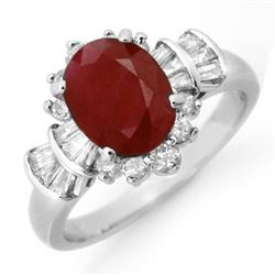 2.22 CTW Ruby & Diamond Ring 18K White Gold - REF-96X4R - 13072