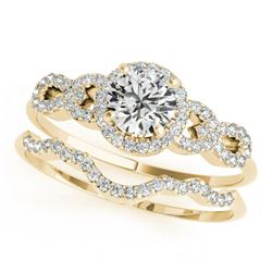 1.18 CTW Certified VS/SI Diamond Solitaire 2Pc Wedding Set 14K Yellow Gold - REF-197Y8X - 31993