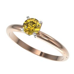 0.50 CTW Certified Intense Yellow SI Diamond Solitaire Engagement Ring 10K Rose Gold - REF-58W2H - 3