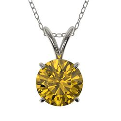 1 CTW Certified Intense Yellow SI Diamond Solitaire Necklace 10K White Gold - REF-147X2R - 33190
